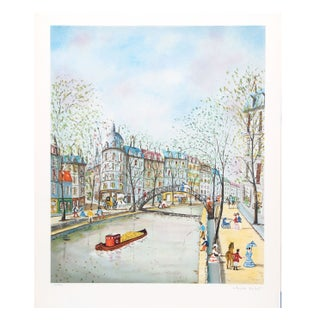 Claude Tabet - City Canal Lithograph