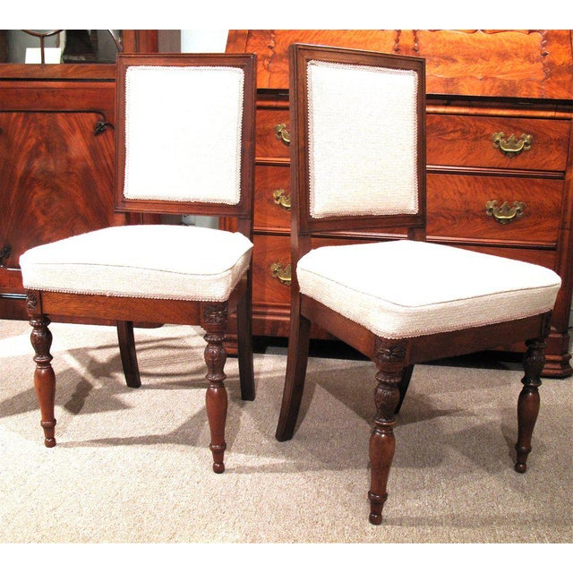 19th Century French Walnut Square Back Chairs - a Pair - Image 3 of 9