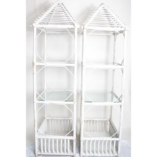 20th Century Boho Chic Painted Rattan Tall Shelves - a Pair Preview