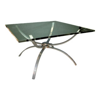 A Chic Italian 1960's Nickel-Plated Cocktail Table With Square Clear Glass Top For Sale