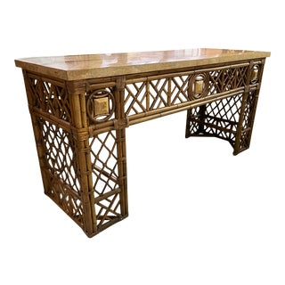 Rattan Chinoiserie Fretwork Console Table For Sale