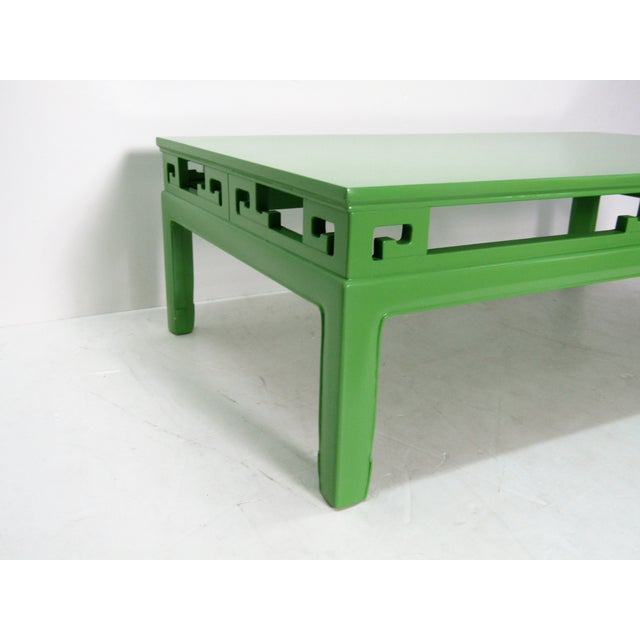 Asian 1970s Chinoiserie Large New Green Lacquer Coffee Table For Sale - Image 3 of 6