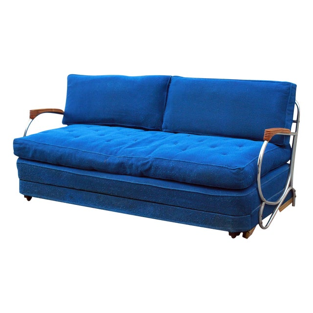 Art Deco Chrome Sofa Daybed - Image 1 of 10