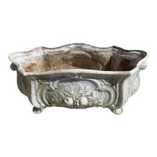 Antique Enameled Iron French Planter Trough For Sale