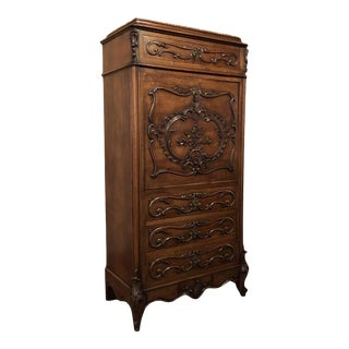 19th Century French Walnut Louis XV Marble Top Secretary For Sale