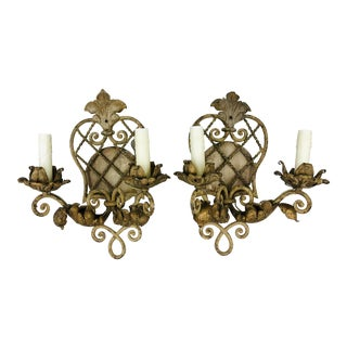 Pair Iron Work Flor De Lis Sconces For Sale