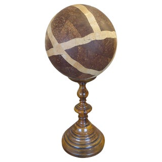 Masculine Wooden Orb/Globe on Custom Stand For Sale
