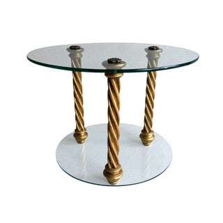 1960s Hollywood Regency Italian Gold Leaf & Glass Side Table For Sale