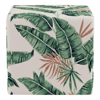 Cube Ottoman in Banana Palm For Sale