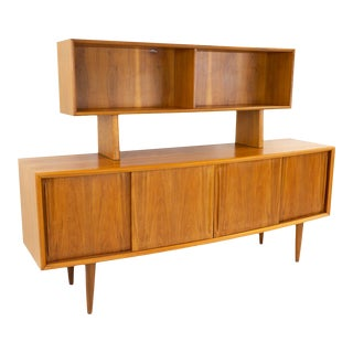 Mid-Century Modern Svend Madsen Curved Bow Front Teak Sideboard & Hutch For Sale