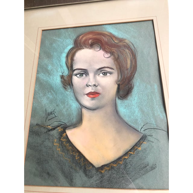 1960s Vintage Chalk Pastels Female Portrait Drawing For Sale - Image 5 of 9