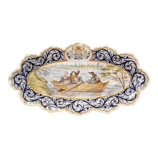 Large Early 20th Century French Quimper Faience Oval Hand-Painted Wall Platter For Sale