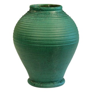 Large Merrimac Pottery Vase Antique Matt Green American Arts & Crafts For Sale