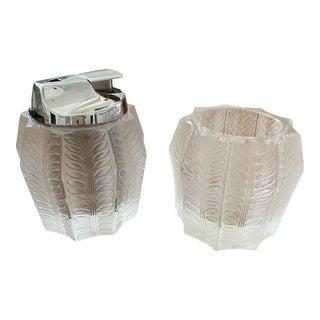 """René Lalique """"Jamaica"""" 2-Piece Crystal Lighter Set For Sale"""