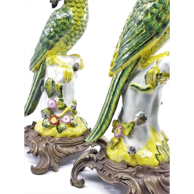 Large Parrot Candlesticks Candle Holders a - Pair - Vintage Porcelain Chinese Ceramic Birds - Tropical Coastal Mid Century Modern Boho Chic Palm Beach For Sale - Image 9 of 13