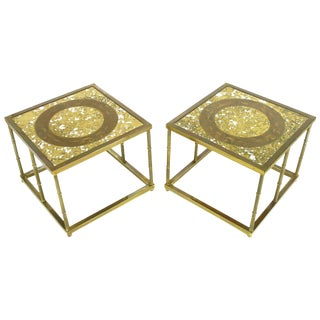 Pair of Mastercraft Patinated Brass and Églomisé Glass End Tables For Sale