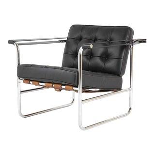 Hans Eichenberger for De Sede, HE 113 Black Leather Chair with Cognac Straps For Sale