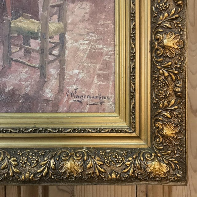 Rose Antique Framed Oil Painting on Canvas by Victor Waegemaeckers For Sale - Image 8 of 12