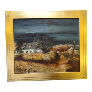 """""""California Farm House in Winter"""" Oil Painting on Canvas by Alfred C. Ybarra For Sale"""