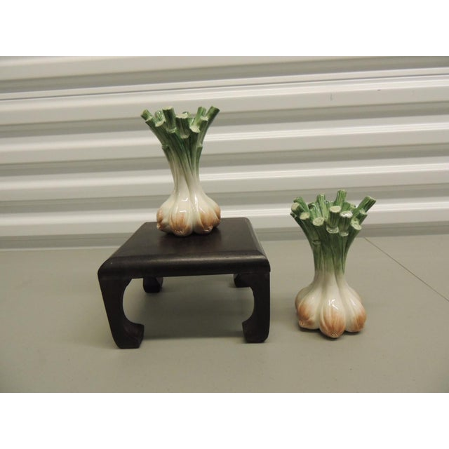 Fitz and Floyd 1990s Vintage Hand Painted Ceramic Onion Candles Holders- A Pair For Sale - Image 4 of 5