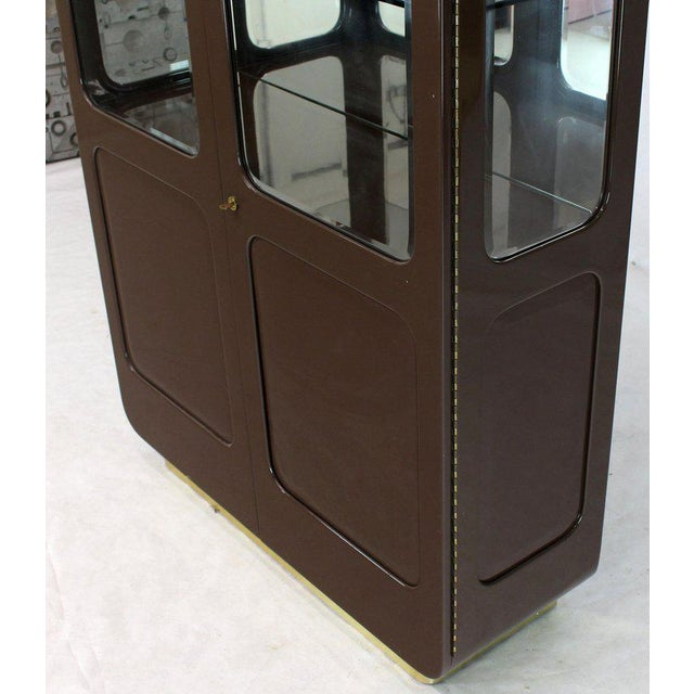 Tall High Gloss Lacquer Finish Rounded Beveled Glass Display Cabinet Wall Unit For Sale In New York - Image 6 of 12