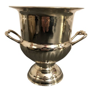 Mid 20th Century Silver Ice Bucket With Handles For Sale