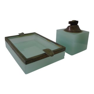 European Case Glass Ashtray & Lighter For Sale