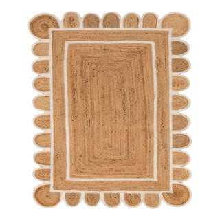 Scallop White Jute Scallop Hand Made Rug For Sale