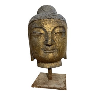 Cast Iron Garden Buddha Head For Sale