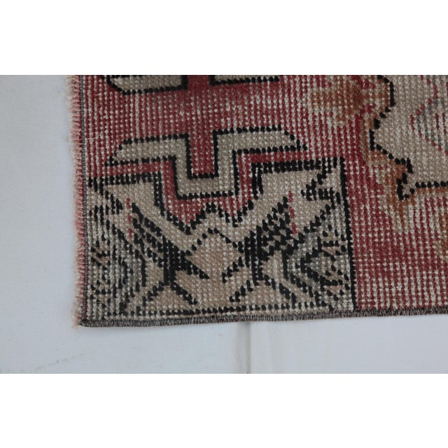 """Pastel 1970s Turkish Wool Rug - 34"""" X 16"""" For Sale - Image 7 of 9"""