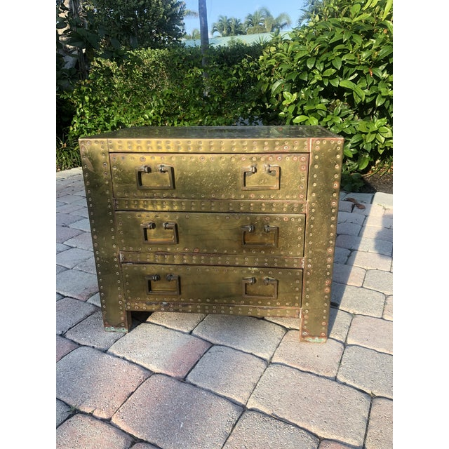 Sarreid Brass Clad Three Drawer Chest of Drawers For Sale In Miami - Image 6 of 13