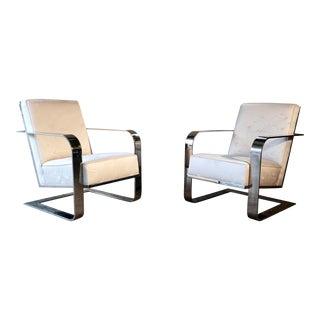 Mid-Century Modern Ralph Lauren Chrome Lounge Chairs - a Pair For Sale