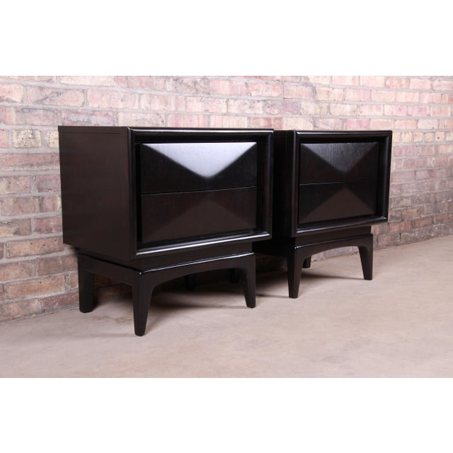 Mid-Century Modern Ebonized Sculpted Walnut Diamond Front Nightstands by United, Newly Refinished For Sale - Image 11 of 11