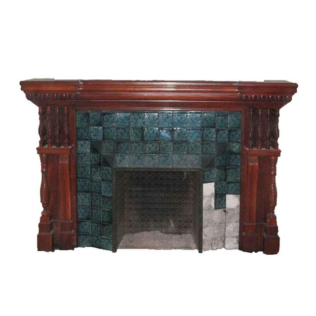Carved Mahogany & Tile Mantel For Sale - Image 10 of 10