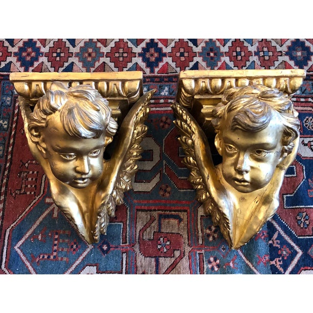 19th Century Italian Baroque Style Gilt Wood Wall Brackets - a Pair For Sale - Image 13 of 13