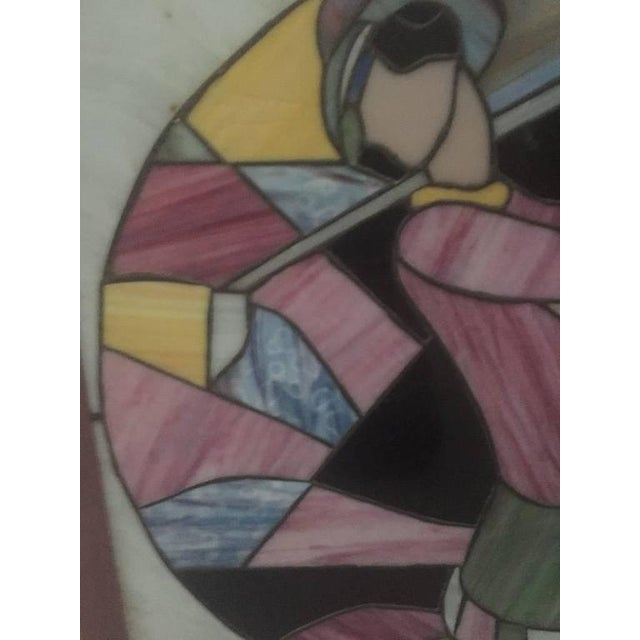 1950s Signed Art Deco Stained Glass Woman Golfer For Sale - Image 5 of 9