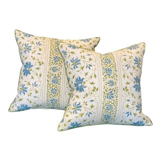 Custom Floral Pillows - a Pair For Sale