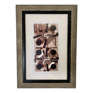"""Domino Tones"" Offset Lithography Framed & Matted Print by Lynne Bernbaum For Sale"