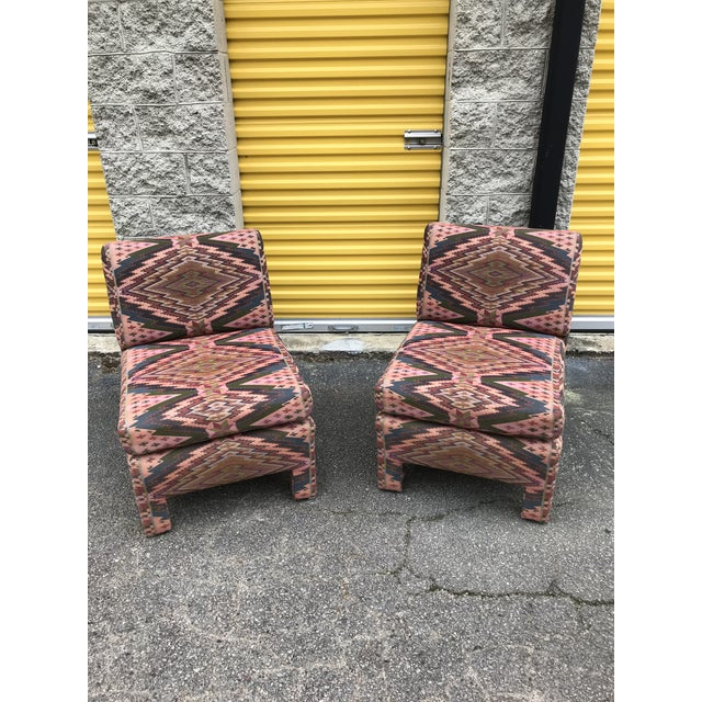 Mid Century Century Furniture Parsons Style Slipper Chairs- A Pair For Sale - Image 13 of 13