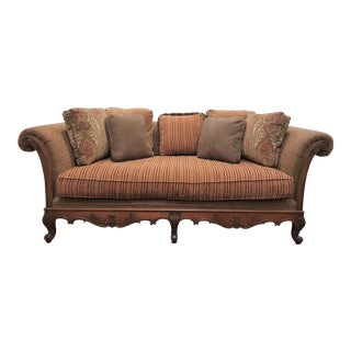 Modern Taylor King Louis XV Walnut Carved Spring Sofa For Sale