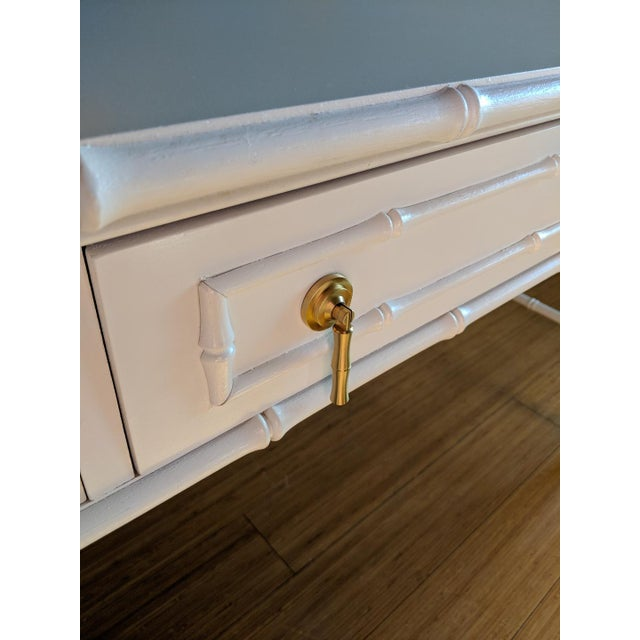 1970s 1970s Hollywood Regency Thomasville Allegro Faux Bamboo White Desk For Sale - Image 5 of 8