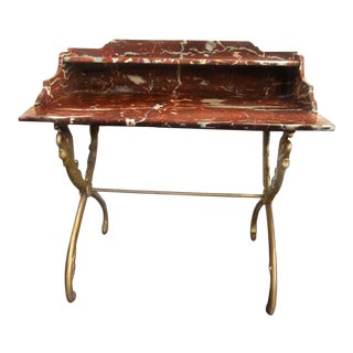 Antique Louis XV Rouge De Rance and Gilt Iron Swan-Legged Serving Table