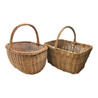 French Wicker Market Basket, a Pair For Sale
