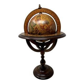 Vintage Italian Desk Version Zodiac World Globe on Wood Stand For Sale