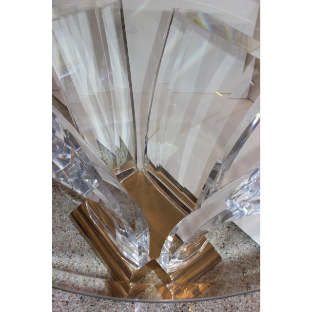 Transparent Bigelow Table Base in Lucite and Polished Brass 1980s For Sale - Image 8 of 12
