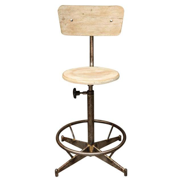 Metal Antique Industrial Light Wood and Metal Adjustable Swivel High Chair For Sale - Image 7 of 7