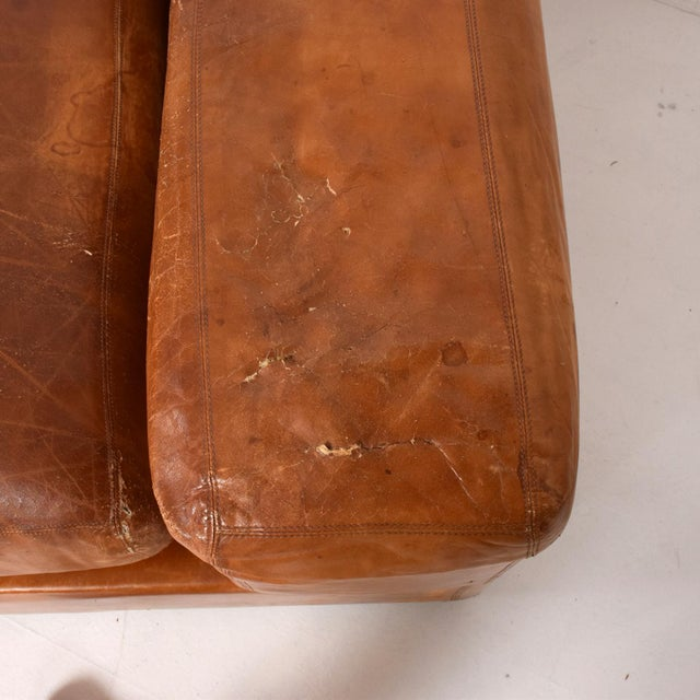 Leather Mid Century Modern Italian Leather Sofa Bed For Sale - Image 7 of 11