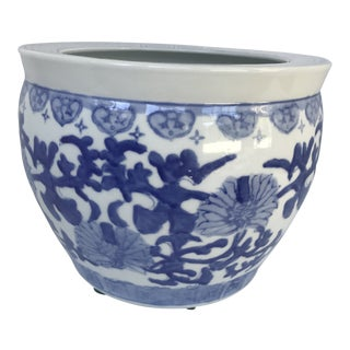 Chinese Blue and White Fish Bowl Cachepot For Sale