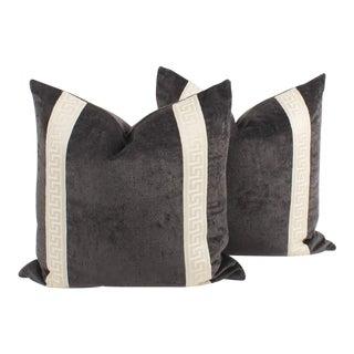 Iron Gray Velvet Greek Key Pillows, a Pair For Sale