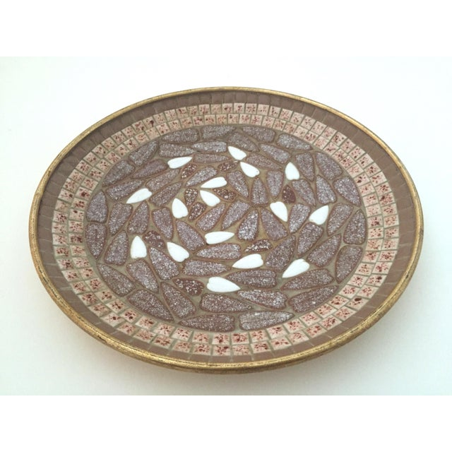 Metal Vintage Mid Century Modern Handcrafted Multi Tone Brown Mosaic Tile Large Bowl For Sale - Image 7 of 9